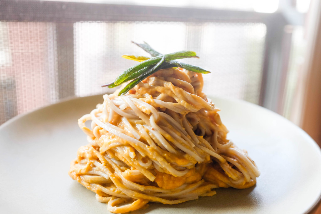 sweet potato buckwheat pasta with fried sage