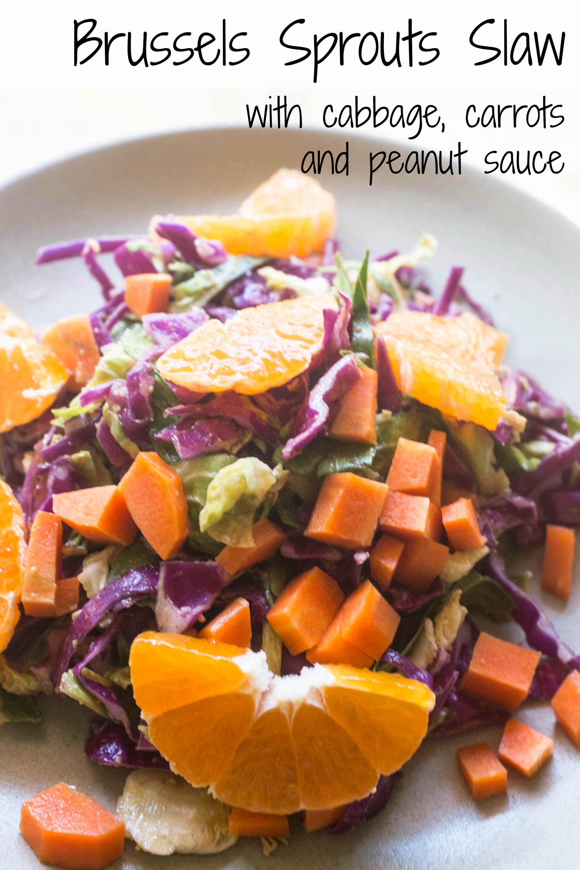 Brussels Sprouts Slaw with Cabbage, Carrots and Peanut Sauce ...
