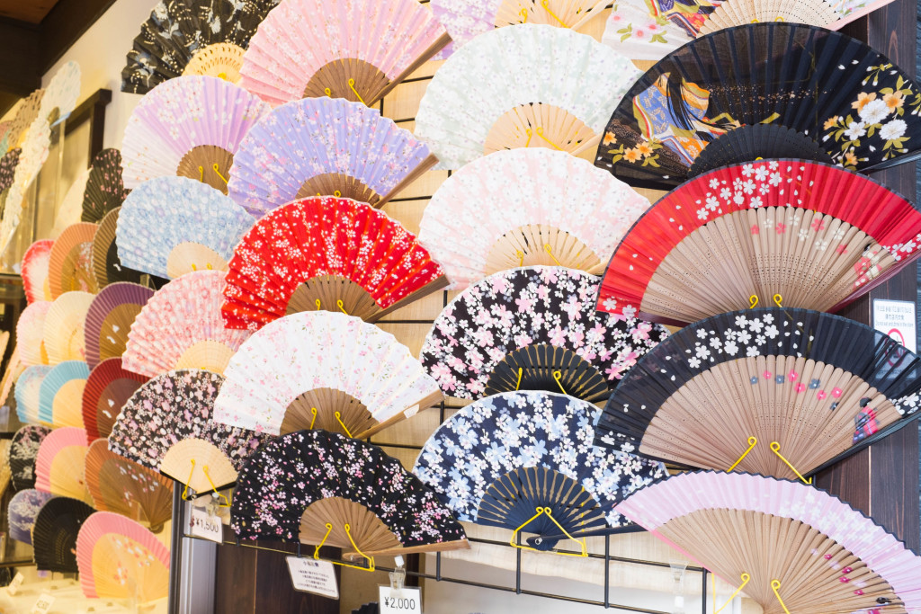 fans sold outside kiyomizu-dera temple, kyoto
