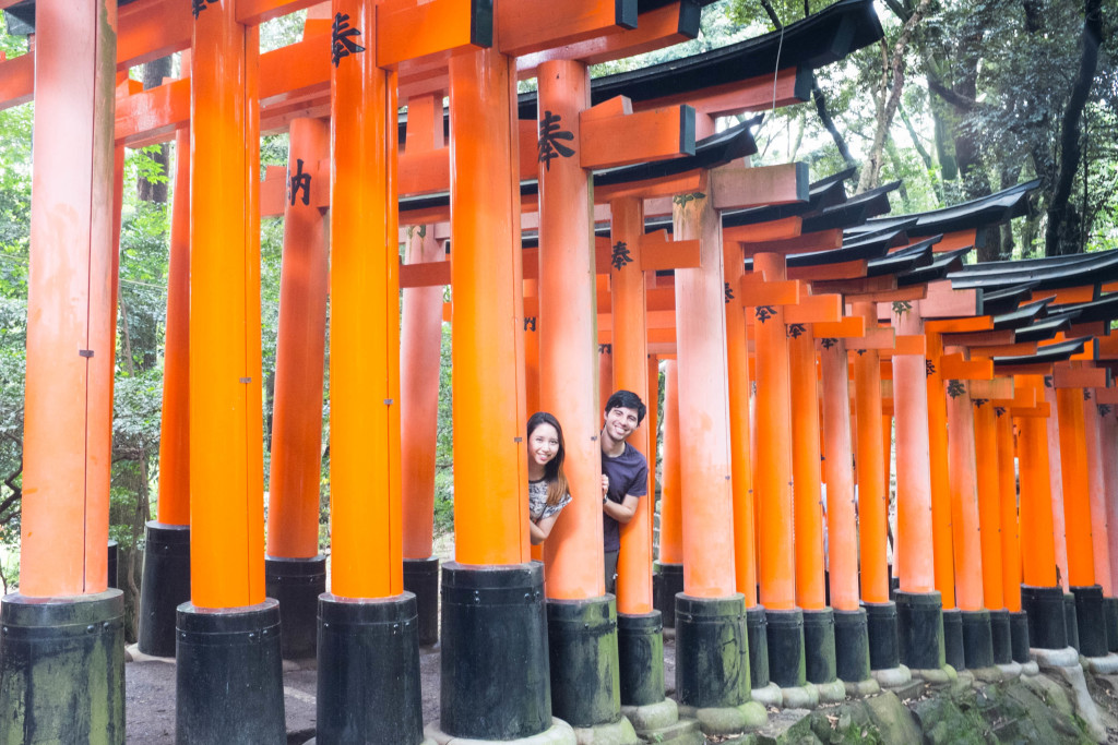 Hanging out in the torii gate tunnel at Fushimi Inari Shrine