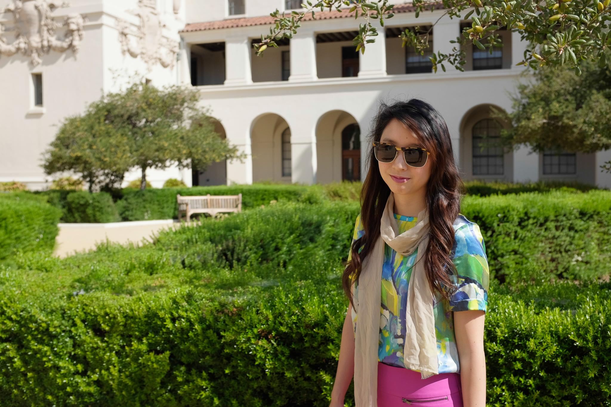 Outfit #3: vintage Escada shirt + Ann Taylor skirt + beige scarf