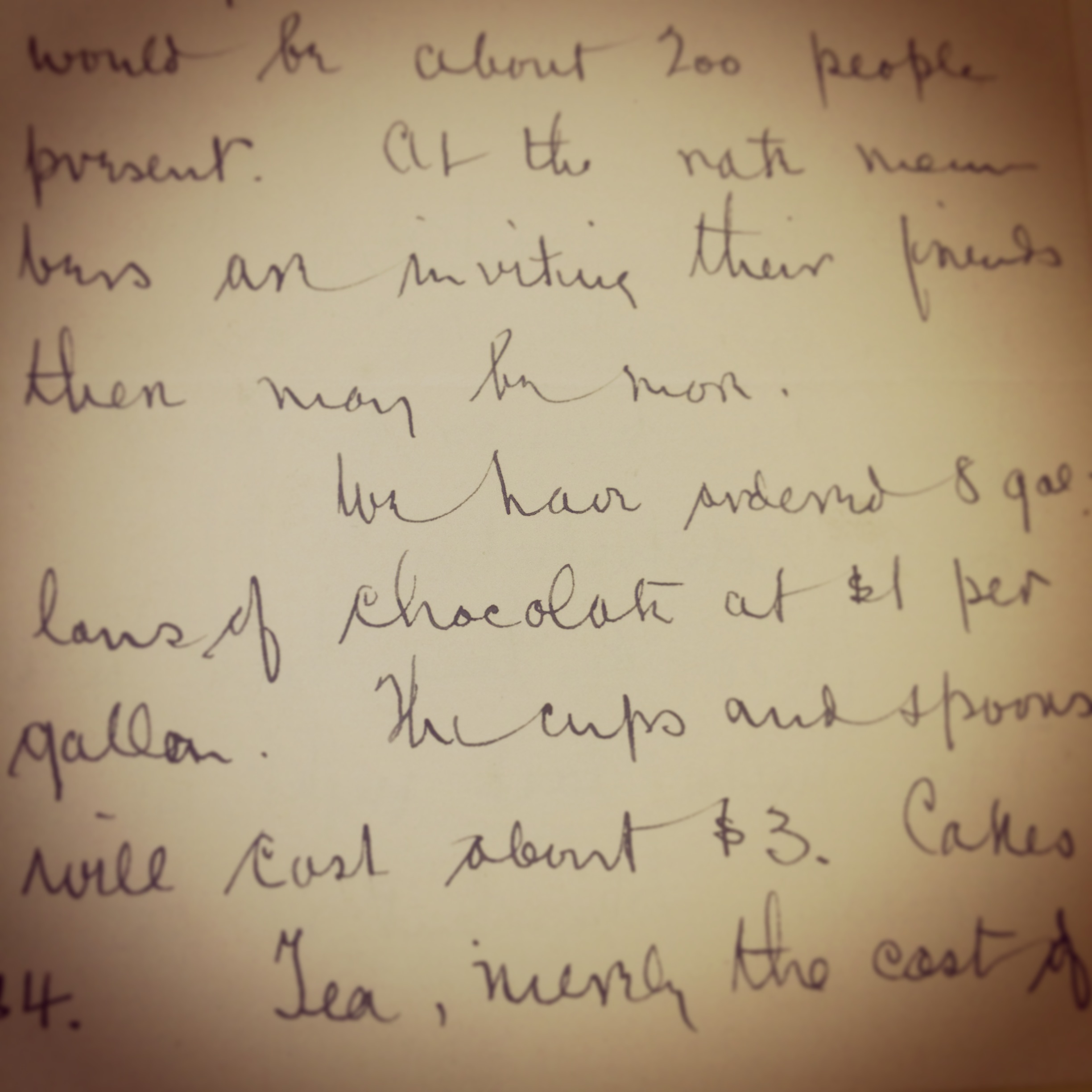 A letter written in the early 1900s. They bought a lot of hot chocolate for needy families!