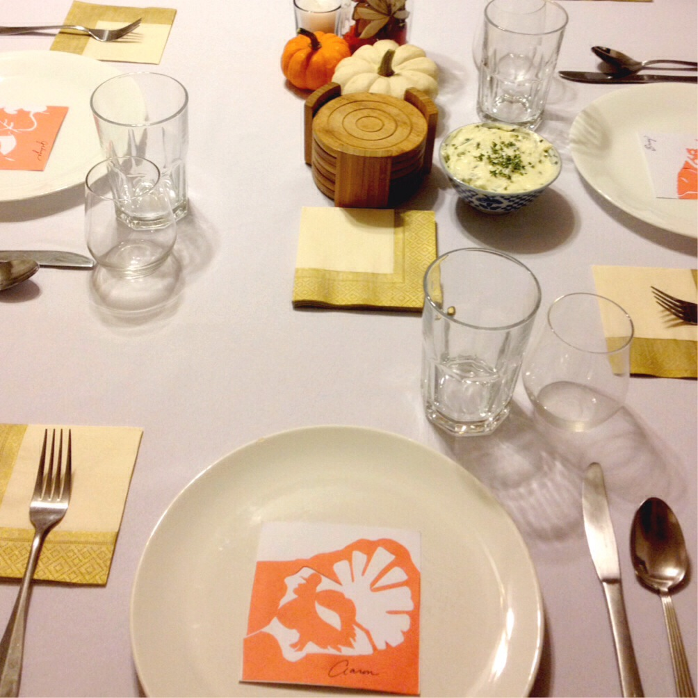 Setting the table for last year's Thanksgiving gathering.