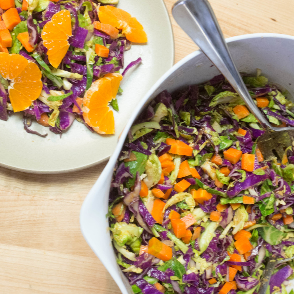 Peanut slaw with brussels sprouts, cabbage and carrots- a delicious packable vegan recipe