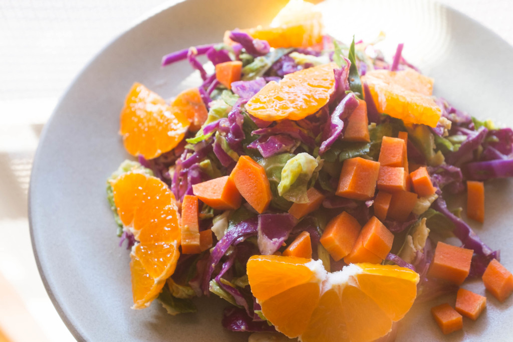 Peanut slaw with brussels sprouts, red cabbage and carrots