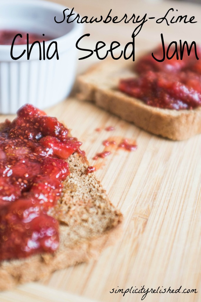 Strawberry-Lime Chia Seed Jam- a perfect delicious jam recipe that tastes like a margarita