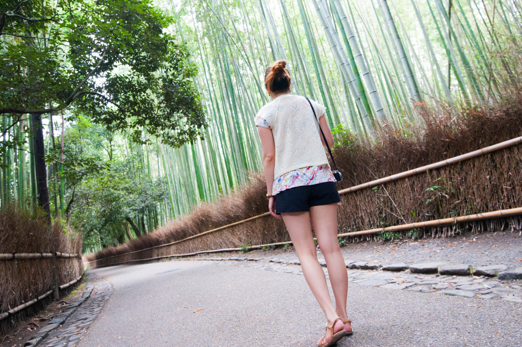 Entering the Arashiyama Bamboo Forest in Kyoto