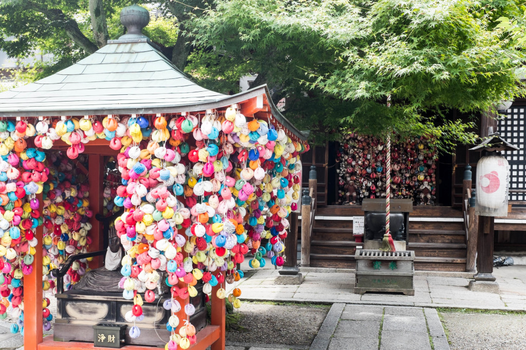 shrine and hanging prayers in kyoto