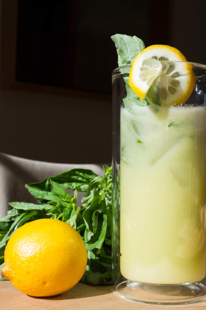 Effortless No-Squeeze Lemonade with basil garnish