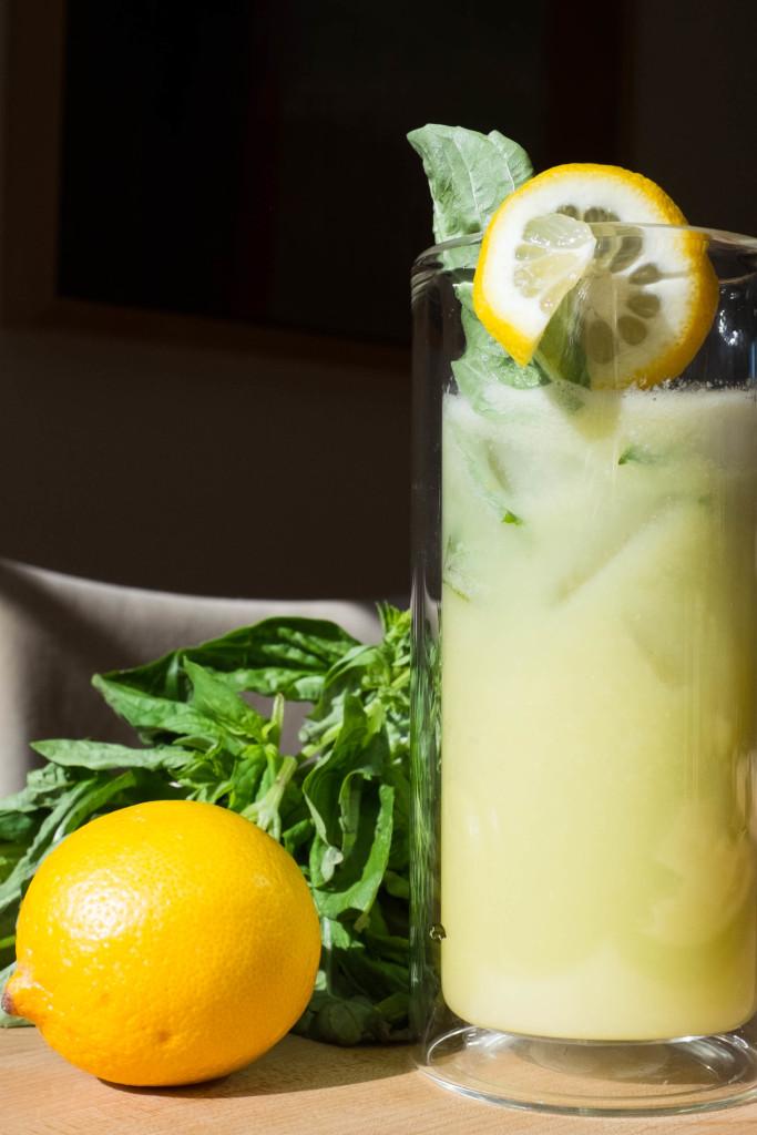 Effortless No-Squeeze Lemonade with basil garnish